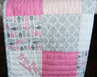 Pink, gray, white baby quilt, Personalized