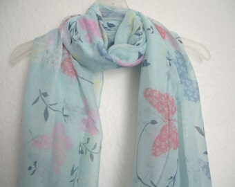 Pale Blue Butterfly Scarf, For Her, Spring Summer Scarf, Nature Accessories