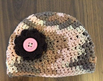 Toddler Girl Beanie Hat with Flower - Desert Pink