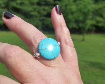 handcrafted wire wrapped turquoise ring