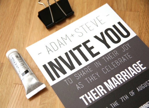 Gay Marriage Wedding Invitations: Gay Wedding Invitation Stationery SAMPLE Set By ShoshyCadoodle
