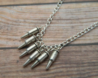 Bullet Necklace, Six Bullets, Silver Bullet Charms, Gun Necklace, Bullet Jewellery, Gun Jewelry, Gamer Gift, Geeky Gift, Boyfriend Gift
