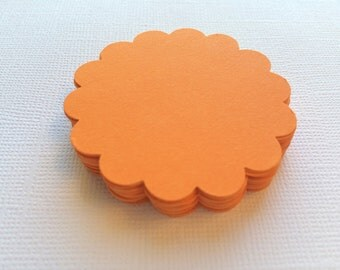 25 Orange Scallop Circles, Paper Die Cuts, Punches - 2""