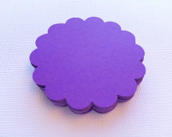 25 Lilac Scallop Circles, Paper Die Cuts, Punches - 2""
