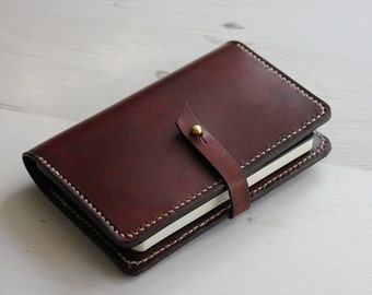 Brown Pocket Leather Notebook Cover with Closure