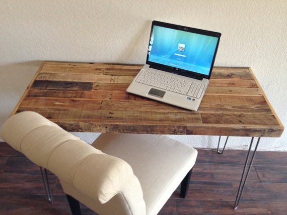 Reclaimed wood modern steel hairpin leg desk work table laptop - Small wooden computer desks for small spaces concept ...