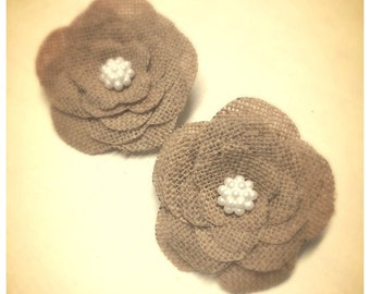 Rustic hessian Cake embellishments with a variety of button centres to choose from (set of two)