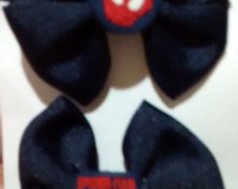 Navy Spiderman Pigtail Bows