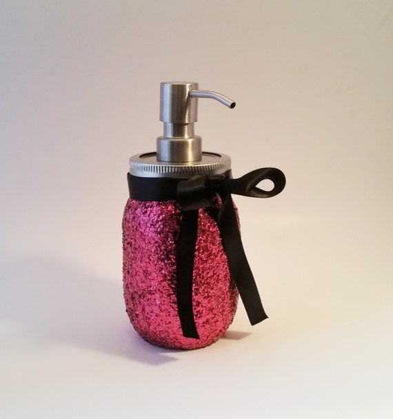 Mason jar soap dispenser bathroom decor black and by limeandco for Pink and gold bathroom accessories