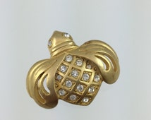 Vintage Swarovski Swan Signed Bumble Bee Pin - Gold Tone Crystals