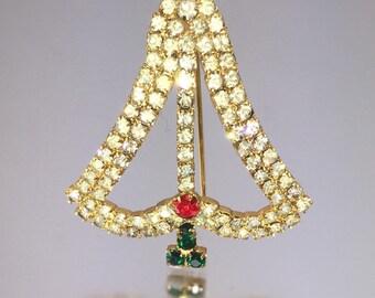 Christmas Tree Pin, Rhinestone Xmas Tree, Vintage Xmas Pin, Holiday Pin, Secret Santa Gift, Stocking Stuffer, Gift for Her PN1