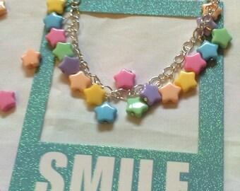 Kawaii Pastel Stars Charm Bracelet