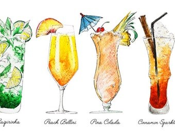 Watercolor wine painting alcoholic drinks giclee print wall for Paint and cocktails