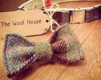 Hunter Tartan Harris Tweed Dog Bow Tie