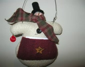 Snowman Decoration - Snowman Hanging - Ornament - Holiday Decoration