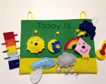 Weather chart board - Kids calendar - Montessori - Educational Toy - Homeschool - Education - Teaching Resources - Learning
