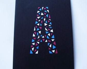 A6 Hand-Cut Letters of the Alphabet Greetings Card