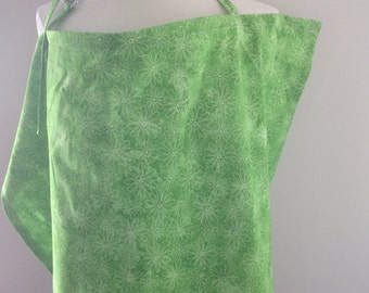 Apron breastfeeding *Ready to go*, green flowers, nursing care, made in Quebec, Creation Sofil