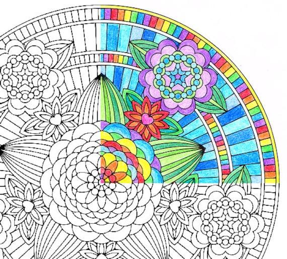 Mandala Coloring Page Flowers
