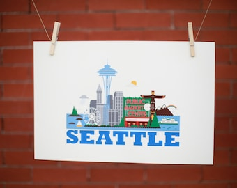 "12"" X 18"" Poster Print - Seattle City Living Design - Show Off Your Favorite City"