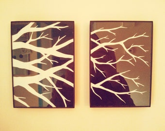Branches II: Original Paper Art with Glass Frames