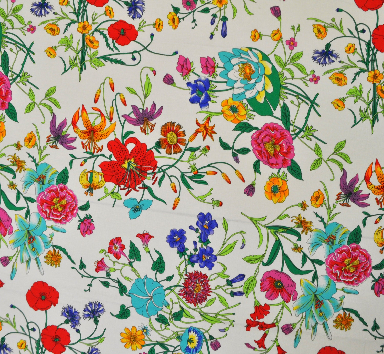 Sale Gucci Flora Authentic 100 Cotton Fabric Flower Print
