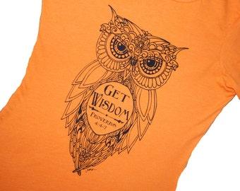 Owl T-Shirt, Get Wisdom, Proverbs 4;4-7, Womens Next Level T, Original Art, Screen Printed