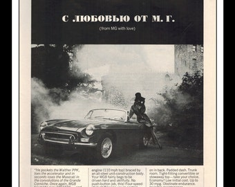 "Vintage Print Ad November 1964 : MGB ""From MGB with love"" Automibile Cars Wall Art Decor 8.5"" x 11"" Advertisement"