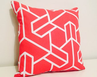 Red & White Geometric Burlap/Hessian Cushion