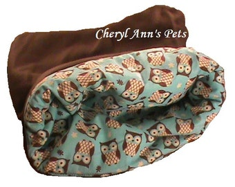 Small owl dog bed, snuggle bag, cat snuggle bag, cat cuddle cup, warm pet bed, 3 layers, teal, brown and owls