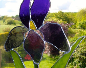 Stained glass Iris sun catcher