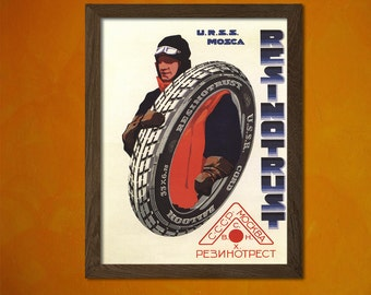 CCCP Soviet Advertising for Car Tires -  Vintage Poster Motor Road Russian Russia Ad Retro Wall Decor Home Design Art Print