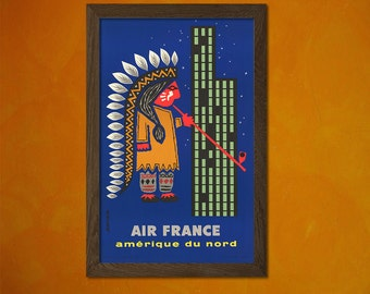 Air France North America Poster- Vintage Tourism Travel Poster Advertising Retro Wall Decor Office decoration  t