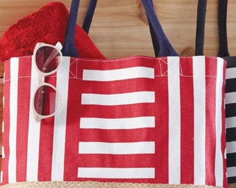 Patriotic Red Blue Navy July 4th Multi-color Jute Tote