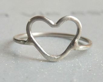 Sterling silver heart ring - Sterling Heart Ring - Valentines Ring - Love Jewelry - Dainty ring for women