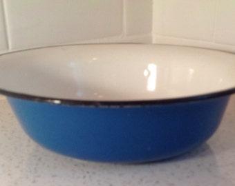 Vintage Enamelware Blue Bowl