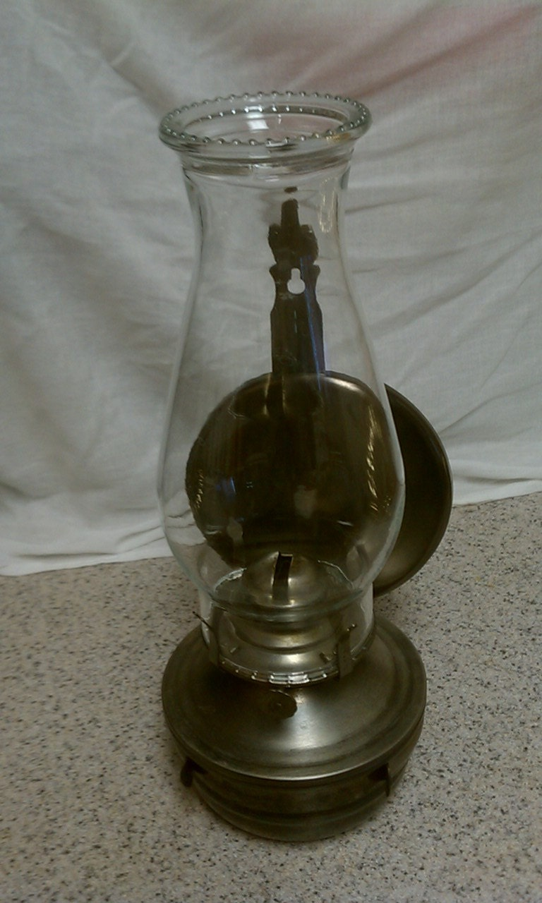 Vintage wall mount wick hurricane lantern metal and glass