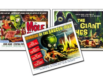 Vintage Science Fiction Horror Movie Posters  - Retro 1950's Sci Fi Monster Classic Prints - Ready To Hang Traditional Wall Art - Set of 3