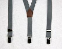 Mid gray Boys Suspenders,grey  Kids Suspenders,Baby Suspenders,Toddler Suspenders,child suspenders, wedding suspenders,infant suspenders