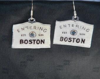 "Entering Boston earrings, 100% recycled plastic ""shrinky dink"""