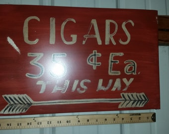 cigars this way sign, man cave, Faux vintage