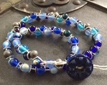 Ocean Blue Glass Bead Bracelet