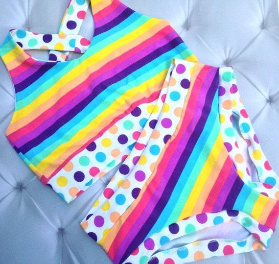 Bra Panty Set, Womens Panties, Plus Size Panties, Rainbow Polka Dot, Briefs Boyshort Thong, Brazi, Custom Scrundie, Sports Bra