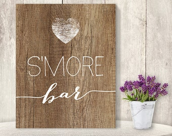 S'more Bar Sign // Rustic Wedding S'more Sign DIY // Rustic Wood Sign, White Calligraphy Printable PDF, Rustic Poster ▷ Instant Download