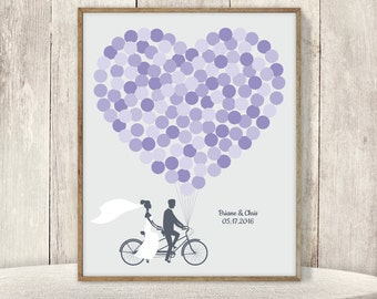 Wedding Guest Book Alternative Poster / Amethyst Purple Balloon Heart, Tandem Bike Wedding Sign ▷ Printable File {or} Printed & Shipped