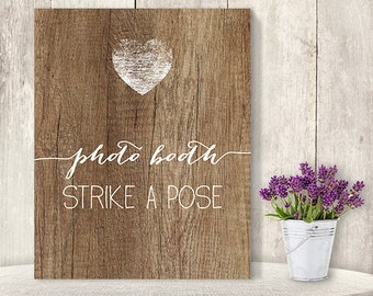 Photo Booth, Strike A Pose // Wedding Photo Booth Sign DIY // Rustic Wood Sign, Calligraphy Printable ▷ Instant Download