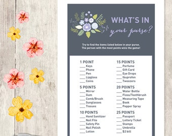 Floral Bridal Shower Game DIY / Lavender Purple Flower / What's In Your Purse Printable PDF / Wedding Shower ▷ Instant Download