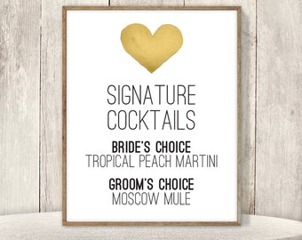 Signature Cocktail Sign / His and Hers Drink / Gold Whimsical Watercolor Heart / Custom Sign ▷ Printable File {or} Printed & Shipped