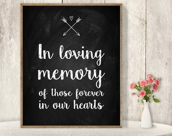In Loving Memory Sign / Wedding Memorial Table Sign DIY / Rustic Chalkboard Poster, Whimsical Arrow, Heart, Chalk Lettering▷Instant Download