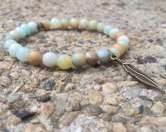 Multi Amazonite Feather Natural Gemstone Stretch Healing Bracelet 6mm